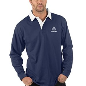 Scotland Thistle Long Sleeve Rugby Shirt - Colour Navy Blue - XS to 2XL