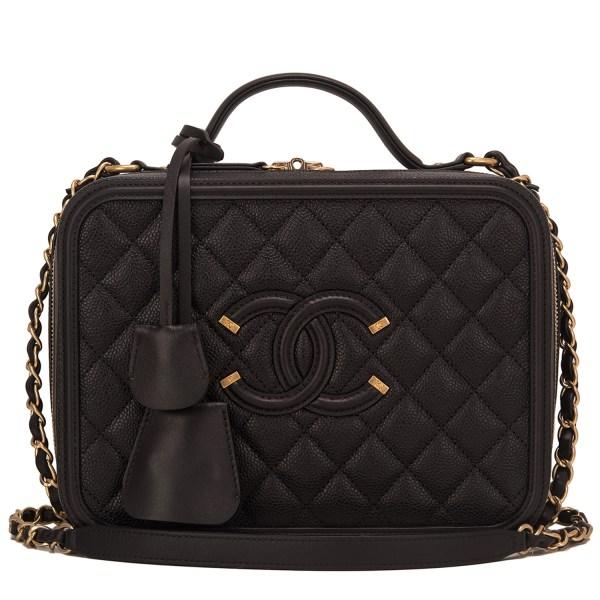 Chanel Black Caviar Medium Filigree Vanity Case World'