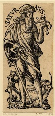 Mystery Babylon - Saturnus shown holding a scythe and a baby.  Notice the winged dragon biting his tail forming a perfect circle, the symbol of the sun.