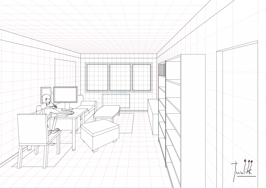 A ongoing living room drawing in One Point Perspective Update 03  Worlds On Paper