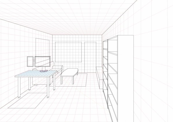 A ongoing living room drawing in One Point Perspective