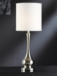 "Brushed Nickel 31.75"" White Nickel & Metal Table Lamp"