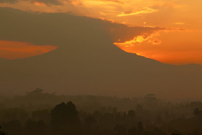 Otherworldly sunrise at Borobudur