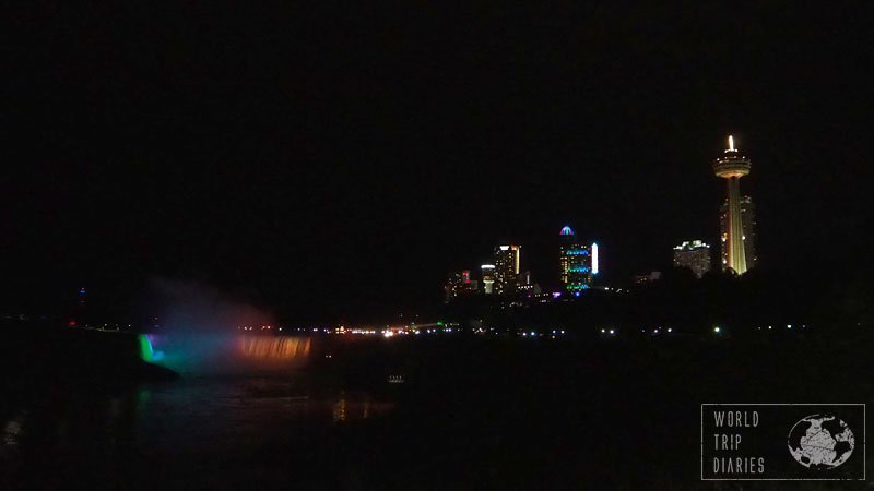 The Niagara Falls light up when the light is gone and it's one beautiful sight. Even tired, the kids were able to spot and marvel. Click to read more!