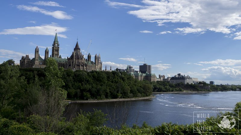 Rideau River and the Parliament building in Ottawa, Canada
