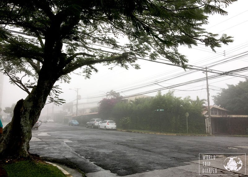 Rain is constant in San Jose, Costa Rica. Have your rain gear ready, especially if you have kids!