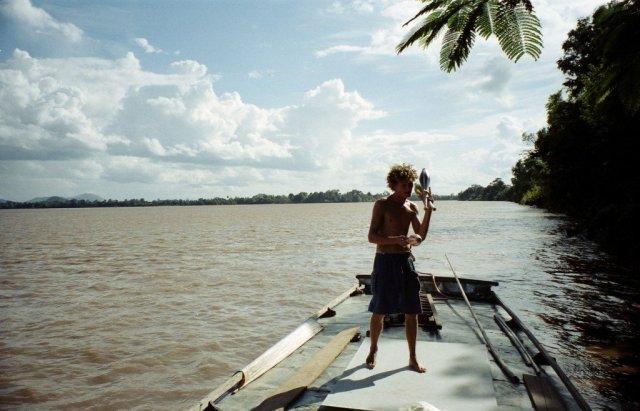 Matt entertains the village children, Laos