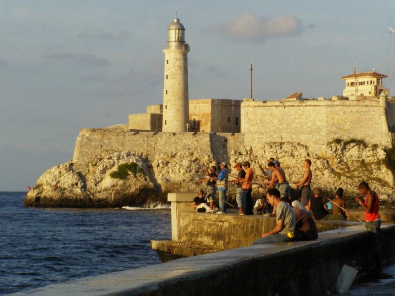 Fishing El Morro Havana Cuba