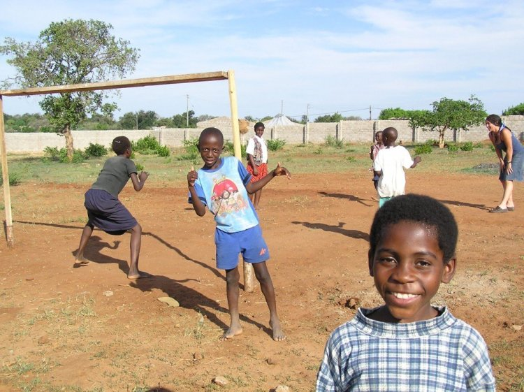 Playing football in Livingstone, Zambia