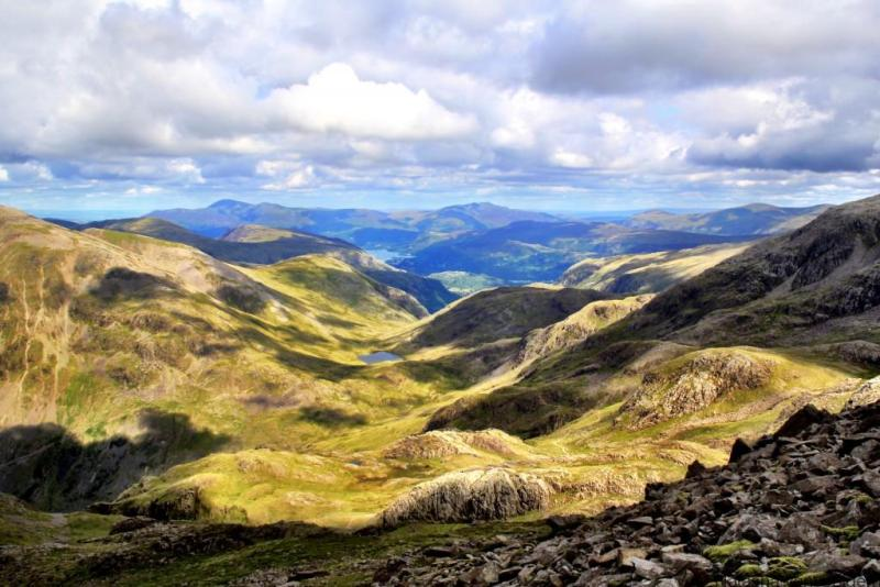 View from Scafell Pike, one of the best walks in the Lake District, England