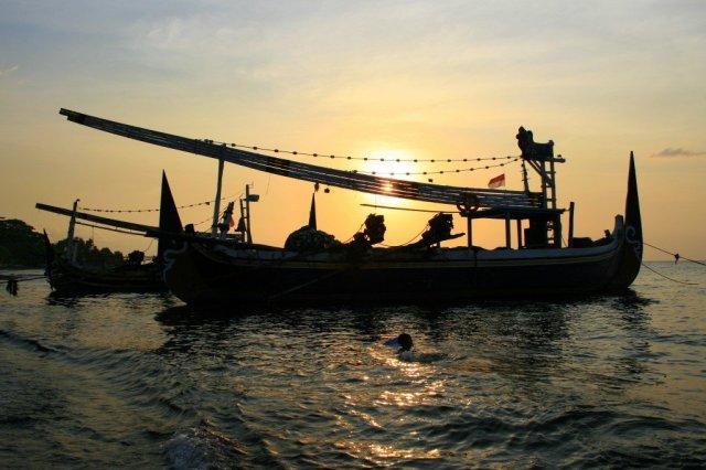 Traditional fishing boats, Lovina, North Coast Bali
