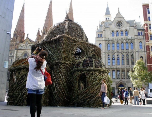 Patrick Dougherty sculpture in Federation Square, Melbourne