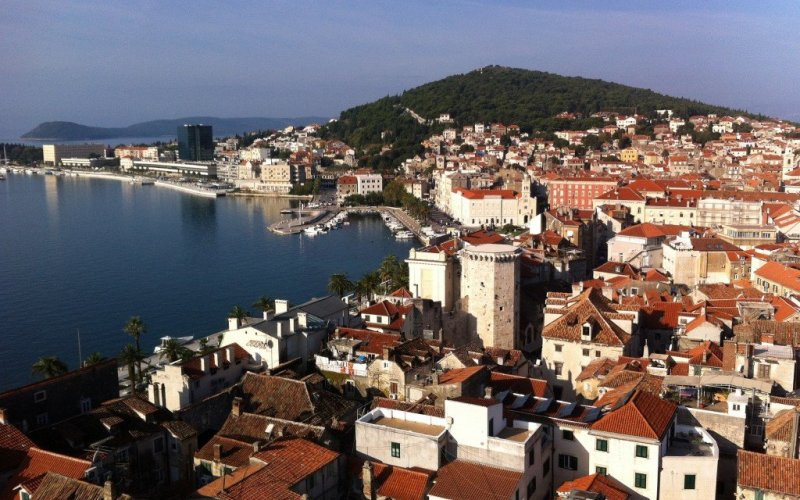 Campanile view of Split and Marjan Peninsula, Croatia