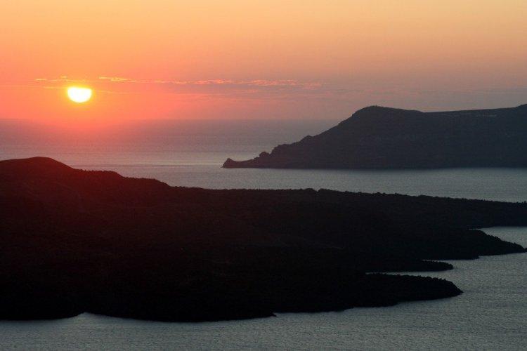 Santorini sunset from near Fira, Greek Islands