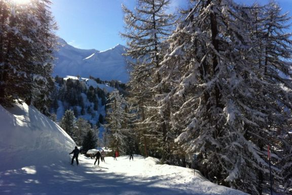 Skiing in La Plagne, Haute Savoie France