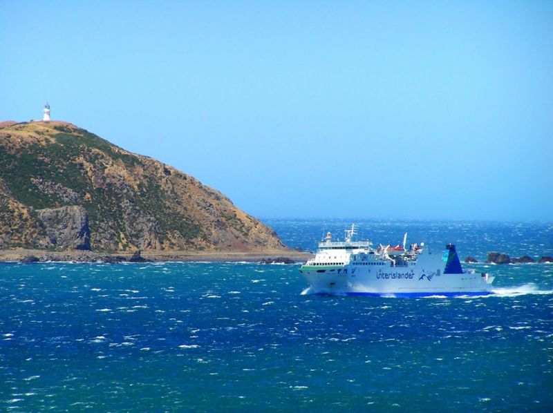 Ferry entering Wellington Harbour, New Zealand