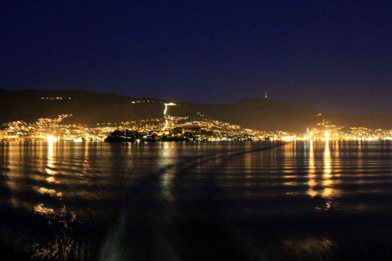 Bergen at night, Norway coastal voyage