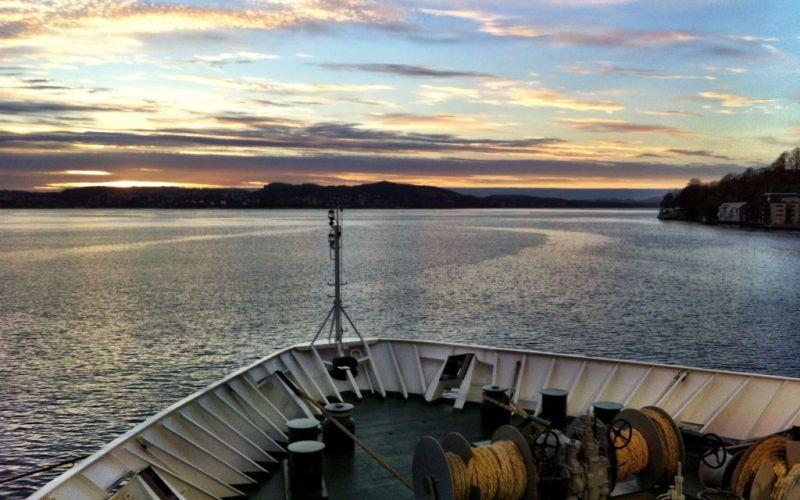 Departing Bergen on Norway coastal voyage