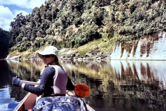 Natasha von Geldern on the Whanganui River in New Zealand