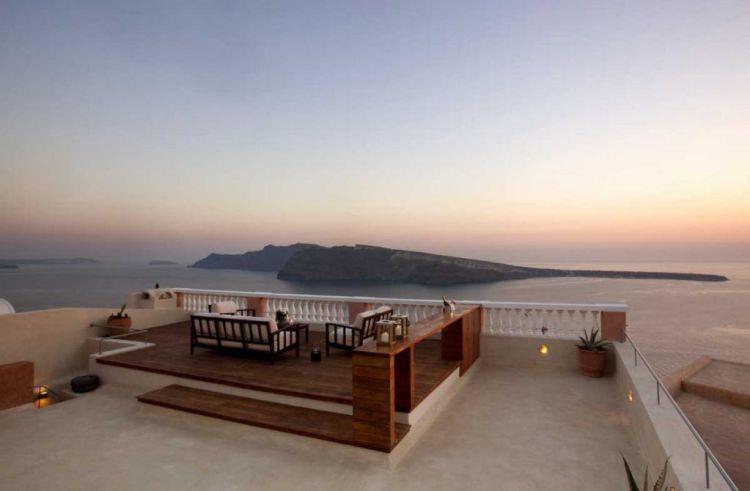 oiamansion-sunset-from-terrace, santorini