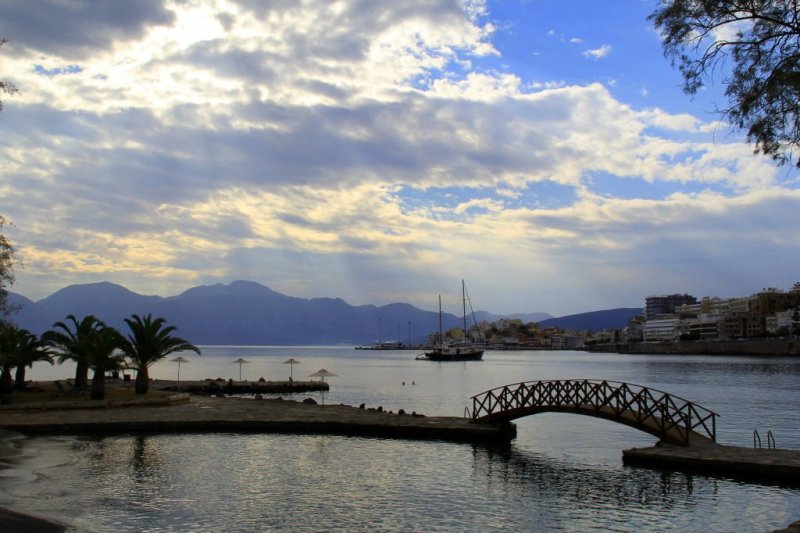 View from Minos Beach Hotel, Agios Nikolaos
