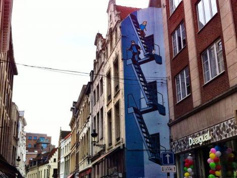 Tintin mural in Brussels, Belgium