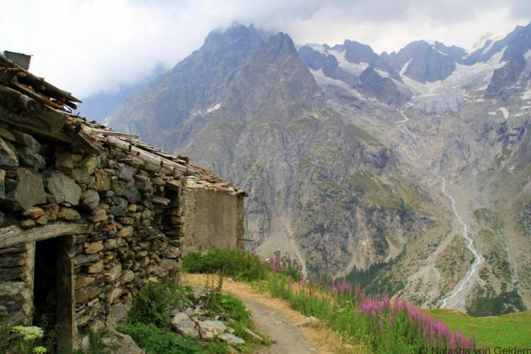 Italian Val Ferret hiking the Tour du Mt Blanc