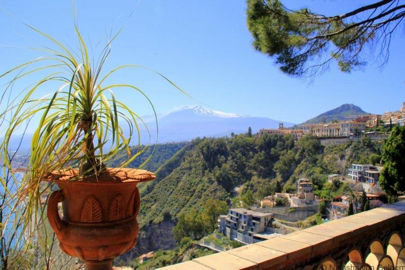 Villa Communale gardens view Taormina Sicily