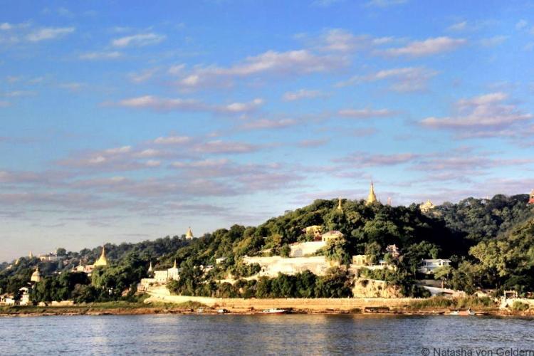 Sagain Hill from the Mandalay to Bagan boat Myanmar