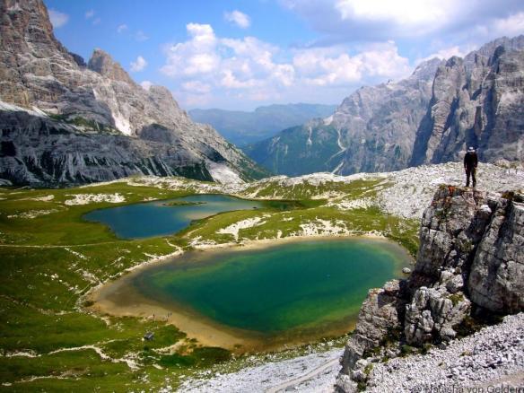 Italian Dolomites mountain and lake landscapeItalian Dolomites mountain and lake landscape