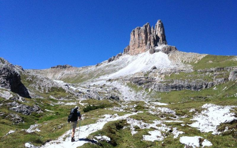 Hiking in the Dolomite Mountains Alta Via 4 Italy