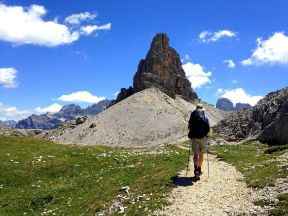 Hiking in the Dolomite Mountains Italy