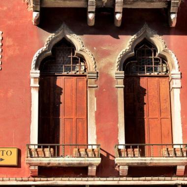 Venice street sign windows Italy