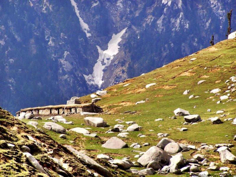 Kareri Lake trek shepherds hut Himchal Pradesh India