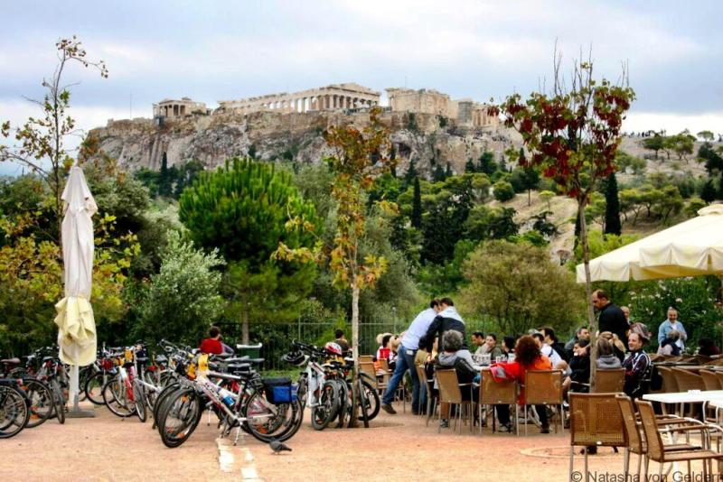 Cafe Parthenon View Athens Greece