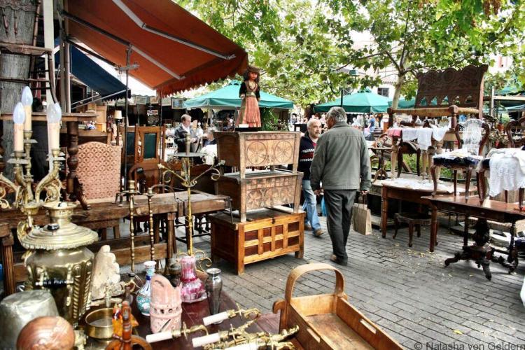 Monastariki square flea market Athens Greece