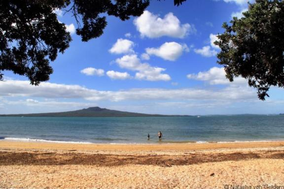 Rangitoto Island from Auckland beach New Zealand