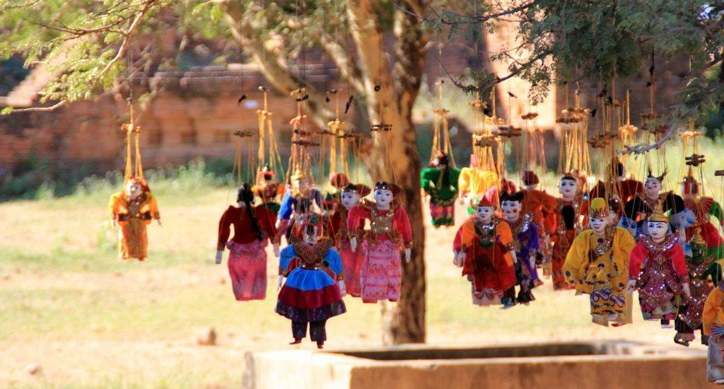 Traditional Myanmar puppets in Bagan