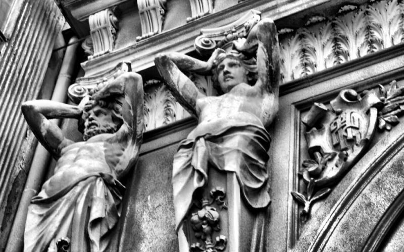 Bucharest architecture caryatids Romania