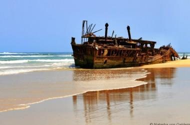 The Maheno shipwreck on Fraser Island Australia