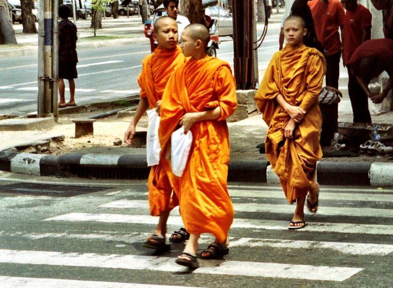 Novice monks on a Bangkok street Thailand
