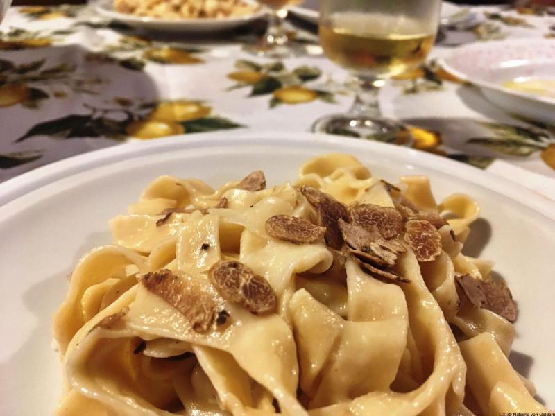 Homemade pasta and truffle at La Scentella, Val d'Aso Italy