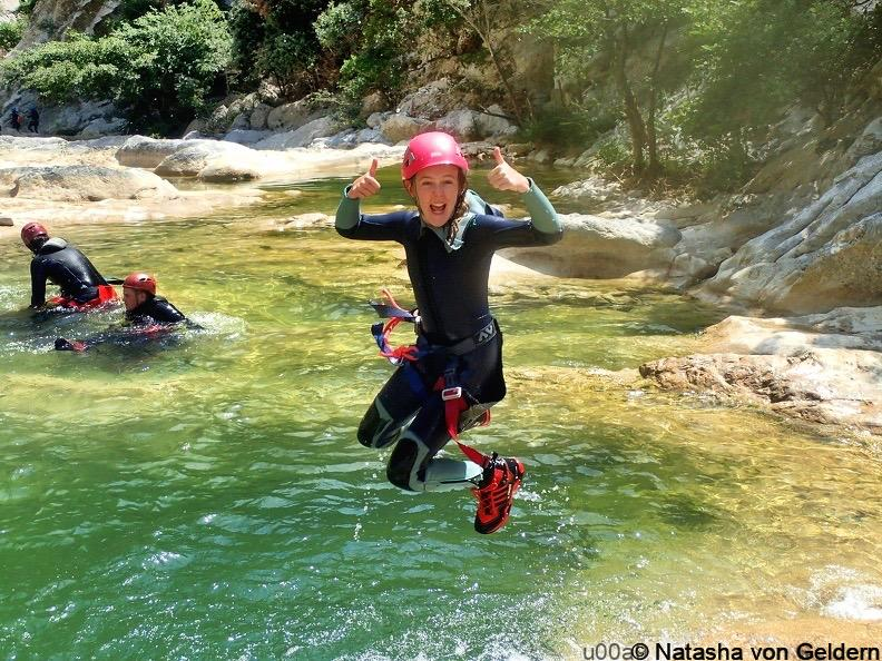 Canyoning in the Gorge du Galamus, Pyrenees-Orientales area of the South of France