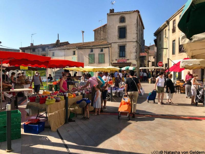 Market day in Lezignan, Languedoc-Roussillon on South of France holidays