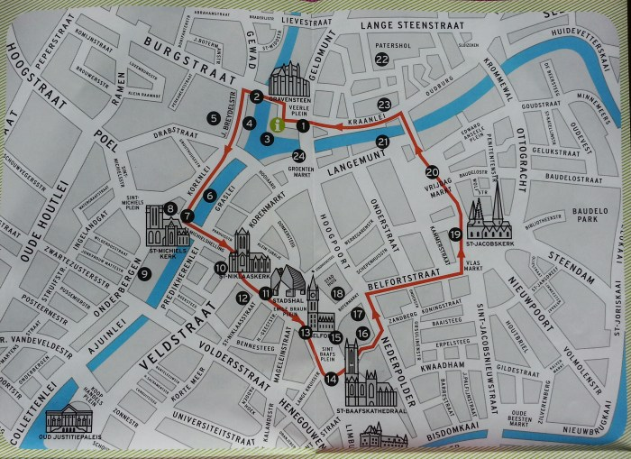 map city walk Gent Ghent Belgium