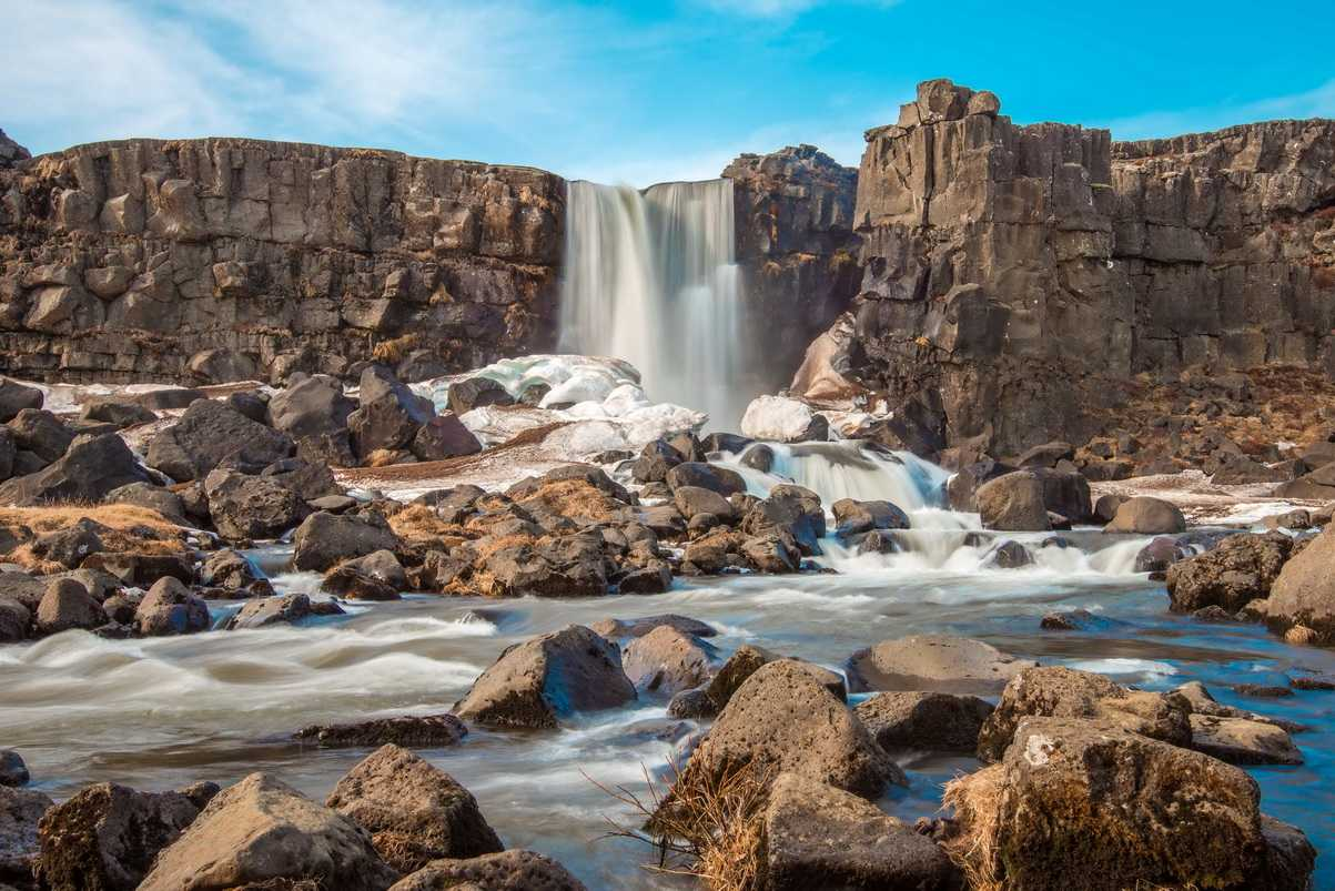 Oxarafoss waterfall. Part of Thingvellir National Park, Iceland.