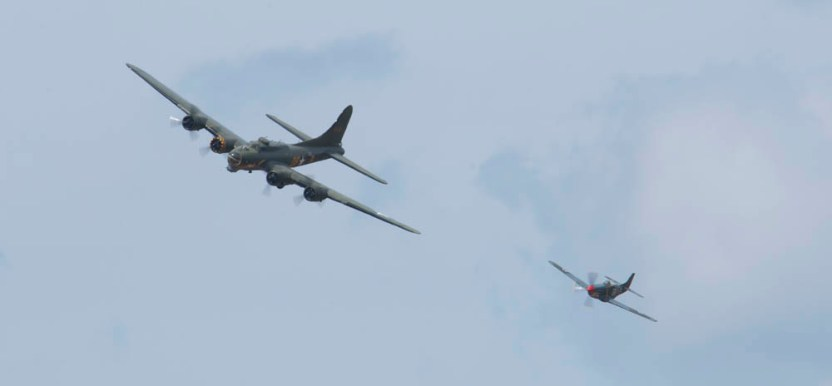 Boeing B-17 Fortress G-BEDF & North American P-51 Mustang Flying Legends 2015