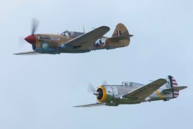Curtiss P-36C N80FR and Curtiss P-40F G-CGZP - 01 Flying Legends 2015