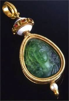 Emerald pendant, carved and shaped by Fortunato Pio Castellani in the 19th century,