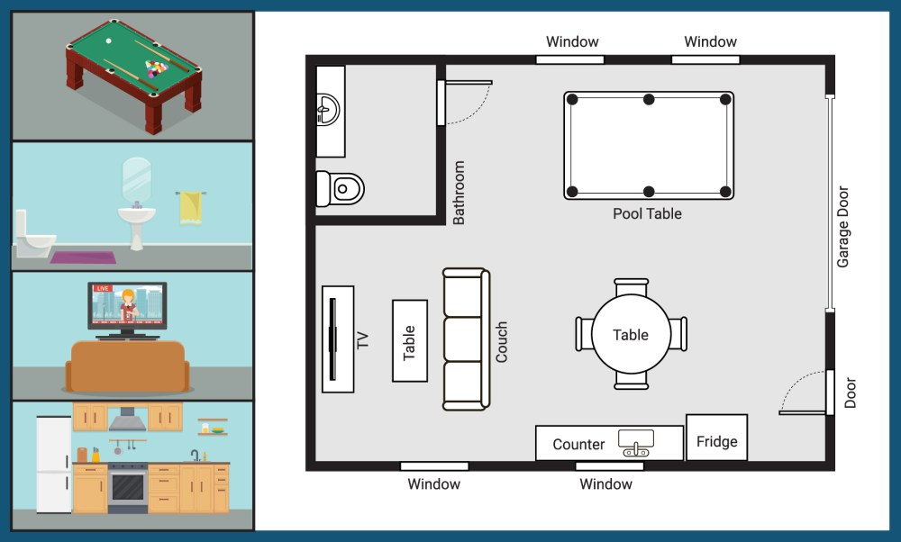 medium resolution of custom layout of a steel building kit for a man cave